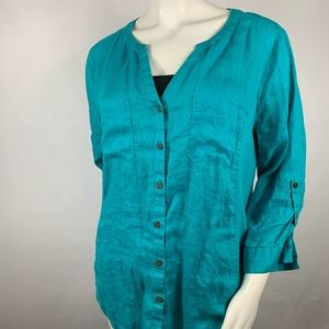3For$20 JM Collection Blue Blouse Size: 16